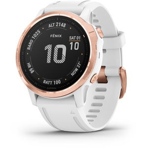 GARMIN fenix 6S Pro GPS Watch - Rose Gold with White Band Small