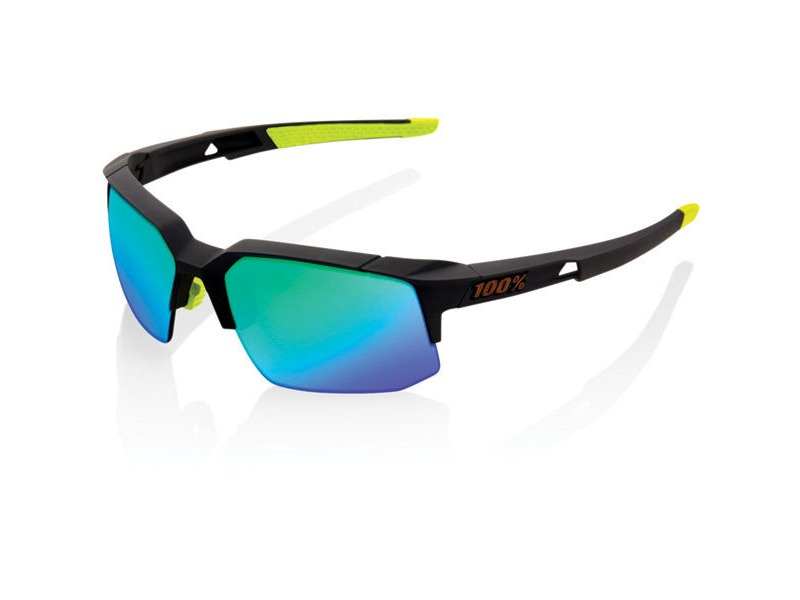 100% Speedcoupe - Soft Tact Cool Grey - Green Multilayer Mirror Lens click to zoom image