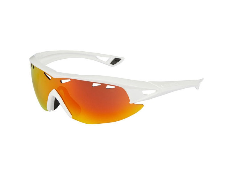 gloss white frame fire mirror//amber//clear lens Madison Recon glasses 3 pack